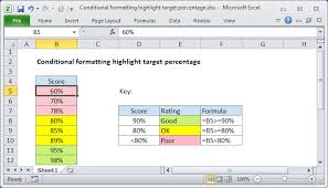 rate comparison format in excel excel formula conditional formatting highlight target percentage