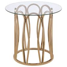 gold metal round coffee and end table