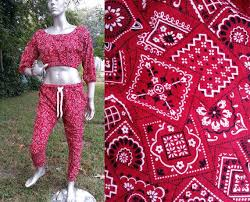 Bandanna Print Parachute Pants Mc Hammer Pants Stage Costume Vintage Pants Red Pants 80s Costume 80s Pants Red Bandanna Top