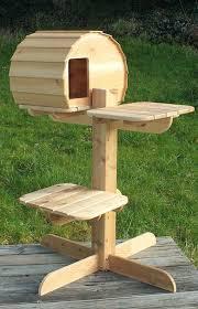 outdoor cat tree rustic cedar perch 3 shelves house plans