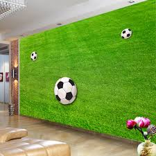 Aangepaste Behang Muurschilderingen Groene Gazon Voetbal Veld Behang