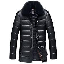 thick detachable fur collar winter leather jacket men