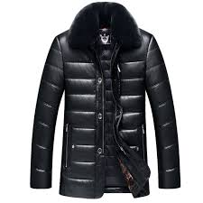 thick detachable fur collar winter leather jacket men