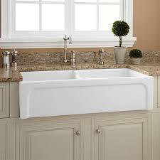 White Kitchen Decor Decorating Rectangle White Apron Sink Plus Silver Faucet On White