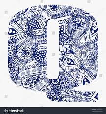 Oriental style alphabet. Letter Q with floral ornament. Vector