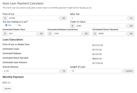 Loan Calculation Template Car Payment Calculator Template Formidable Forms