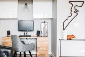 Home office small office home Modern Chic Home Office In Corner Of Living Room The Spruce 27 Surprisingly Stylish Small Home Office Ideas