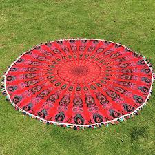 ethnic colorful tassel indian mandala wall hanging yoga mat gypsy cotton tablecloth red round beach throw in red sammydress com
