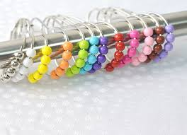 plastic beads bathroom shower curtain hooks footprints shaped roller shower curtain roller rings curtain