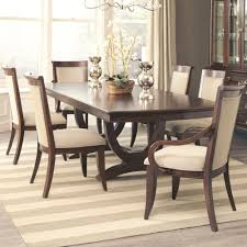 Formal Dark Cognac Dining Table 6 Tan Chairs Dining Room Furniture