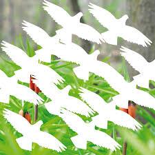 16 Aufkleber Tattoo 10cm Weiß Vogel Fenster Warnvögel Vogelschutz