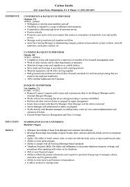 Banquet Supervisor Resume Samples Velvet Jobs