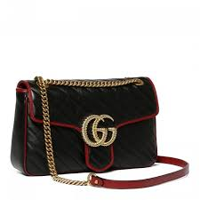 gucci azalea gg marmont shiny matelassé leather bag with frontal flap and spring closure golden metal gg logo applique on front contrasting profiles