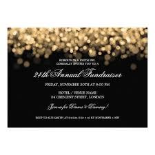 Elegant Corporate Fundraiser Gold Lights Invitation Gala Save The