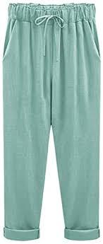 XinDao Women's Outdoor Elastic Waist Casual Loose Baggy Linen ...