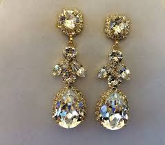 swarovski crystal embellished teardrop dangle earrings images of