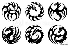 Fotografie Obraz Vector Illustration Set Of Round Tribal Dragon