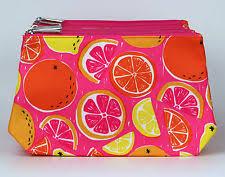 whole lot of 10 x clinique orange print cosmetic makeup bag zipper