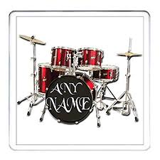 your name here personalised drummer gift coaster red personalised drum kit drummer rock band