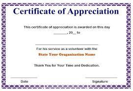 Certificate Of Appreciation Volunteer Work 50 Professional Free Certificate Of Appreciation Templates
