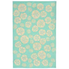 trans ocean rugs sand dollar turquoise 5 ft x 8 ft indoor outdoor area rug trans