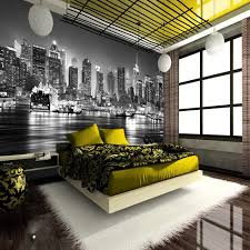 New York City Bedroom New York City At Night Skyline View Black White Wallpaper Mural