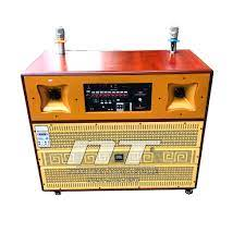 Thùng loa karaoke di động - Thiết kế bằng gổ cao cấp với bass đôi 4 tấc -  Công suất lớn hát karaoke cực hay với 2 micro