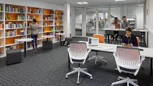 Space furniture design Desk The Library Transforms To Learning Commons Pinterest Innovative Library Learning Space Design Steelcase