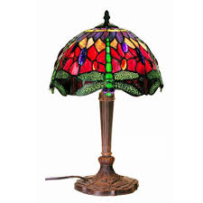 warehouse of tiffany dragonfly 18 in bronze multicolored table lamp