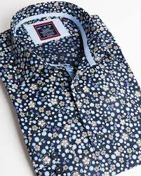 Fashion shirt | Light <b>blue</b> dress shirt with small flower <b>pattern</b>