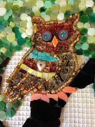 detail of owl mosaic by peggy lindstrom on no days mosaic mesh