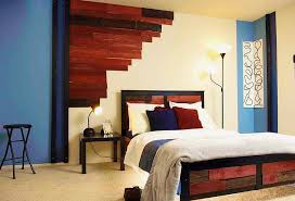 View in gallery Wonderful way to incorporate color into the bedroom without  disturbing its masculine appeal