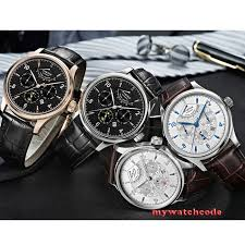 Luxury Brand <b>42mm parnis black dial</b> white dial Date 24 hour Power ...