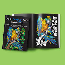 Adult Coloring Book Midnight Edition 29 Animal Designs For Stress