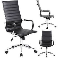 leather office chair modern. Image Is Loading Modern-High-Back-Black-Ribbed-Upholstered-PU-Leather- Leather Office Chair Modern E