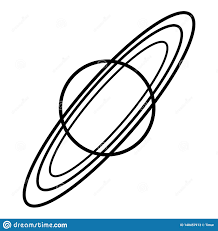 Black And White Vector Illustration Of Saturn With Rings Stock