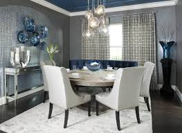 Contemporary Dining Room With Grey Walls And Modern Curtains And Magnificent Grey Dining Room