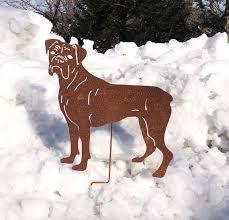boxer dog garden stake or wall art pet