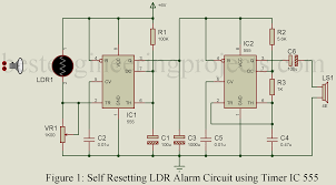 Automatic Light Operated Switch Using Ldr And Ic 741 Self Resetting Ldr Alarm Using Timer Ic 555 Engineering