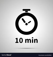a 10 minute timer ten minutes timer simple black icon royalty free vector