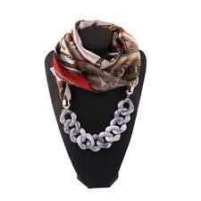Designer Silk Scarves Us 4 82 57 Off Women Jewelry Scarf Necklace Ladies Luxury Designer Gift Idea Versatile Unique Pendant Silk Scarf Foulard Femme In Womens Scarves