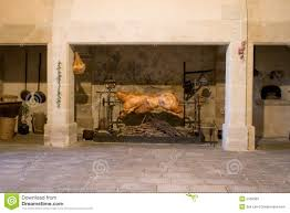 Kitchen Fireplace For Cooking Castle Cooking Rotisserie Stock Photos Image 2169383