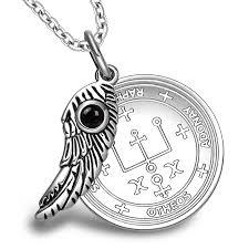 archangel raphael sigil amulet magic powers angel wing charm simulated black onyx pendant 22 necklace