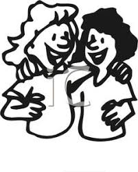 hug clipart black and white. two girls hugging - royalty free clipart picture hug black and white