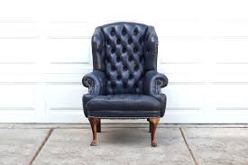 high back leather wing chair decoration leather wing back chairs and vintage navy blue tufted leather