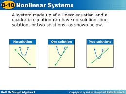 2 holt mcdougal algebra 1 8 10 nar systems a system made up of a linear equation and a quadratic equation can have no solution one solution