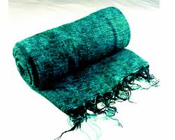 Blue Green Online Nepalese Hand Loomed Yak Wool Blanket Throw Shawl Blue Marlin And Black