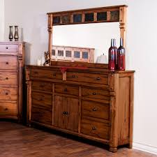 Rustic Dresser with Doors u0026 Mirror with Genuine Slate