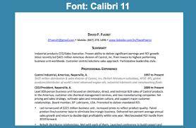 Resume Font: Calibri 11