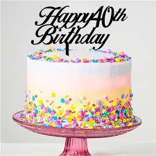 Happy 40th Birthday Cake Topper Prettyparties